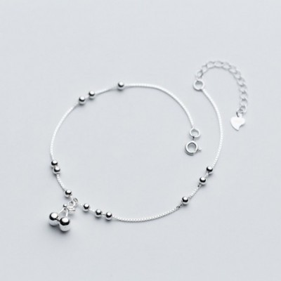 Cherry Beads Solid Silver Adjustable Anklet