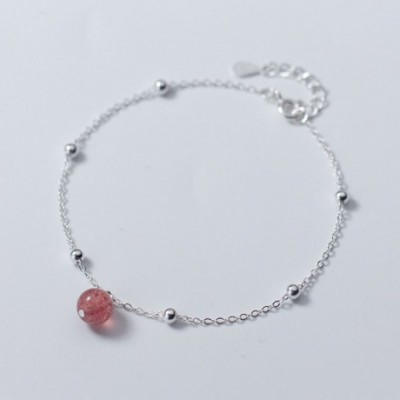 Casual Pink Strawberry Quartz Solid Silver Adjustable...
