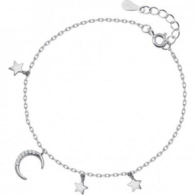Crescent  Gemstone Moon Stars Silver Adjustable Bracelet