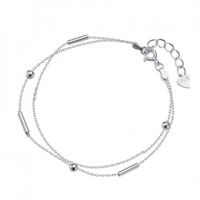 Beads Solid Silver Adjustable Double Chain Bracelet