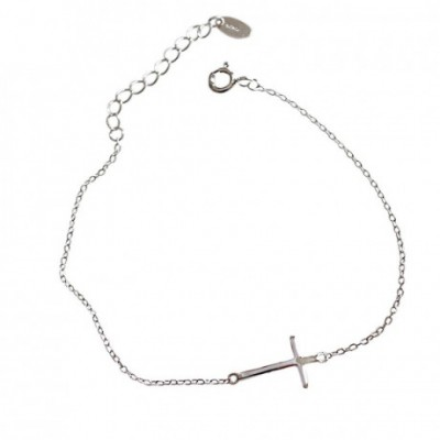 Cross Solid Silver Adjustable Bracelet