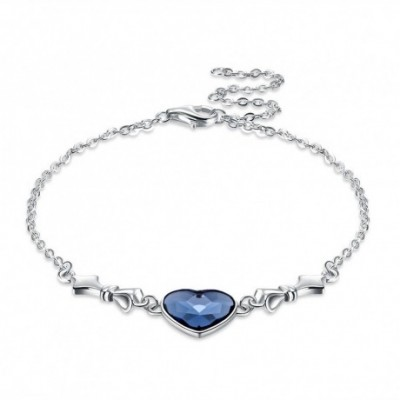 Aumtrian Crystal Heart Solid Silver Adjustable Bracelet