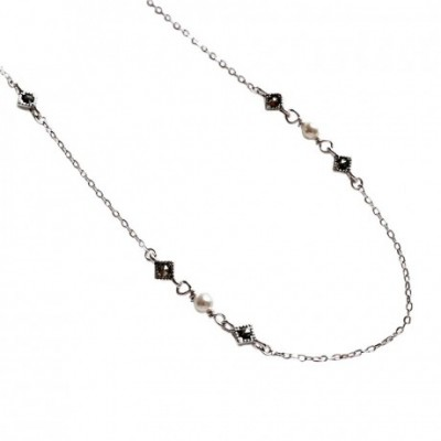 Black  Gemstone Shell Pearls Solid Silver Necklace