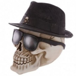 Trilby and Glasses Skull Ornament