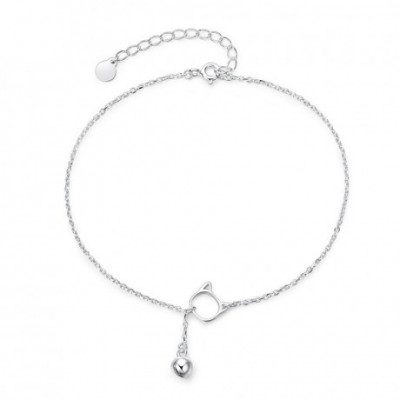 Cat Head Bell Silver Anklet