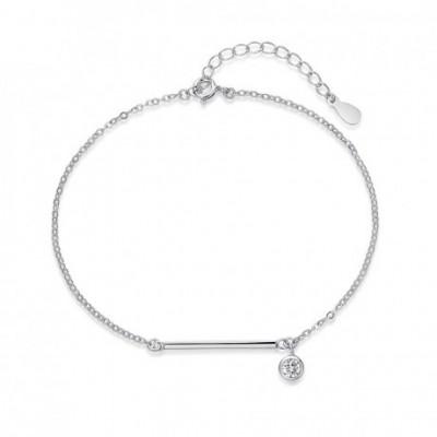 Geometry Straight Line  Gemstone Silver Adjustable Anklet