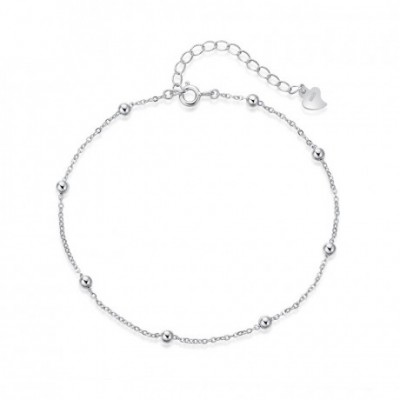Balls Silver Adjustable Cross Chain Anklet