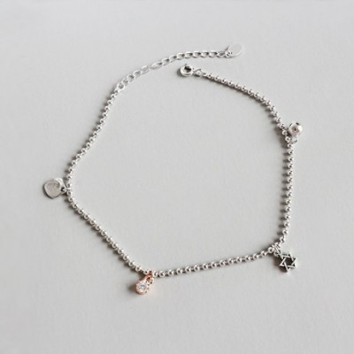 Gemstone Six Awn Star Bell Heart Silver Anklet