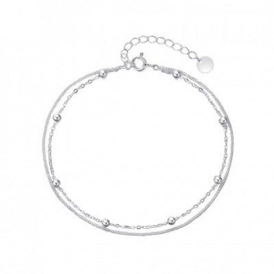 Balls Silver Adjustable Double Chain Anklet