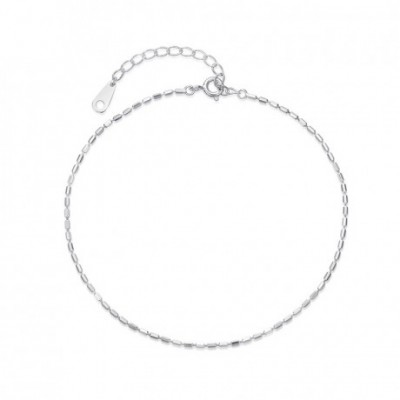 Bamboo Joints Balls Silver Adjustable Anklet