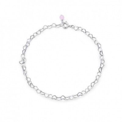 Classic Hollow Heart Chain Crystal Silver Adjustable Anklet
