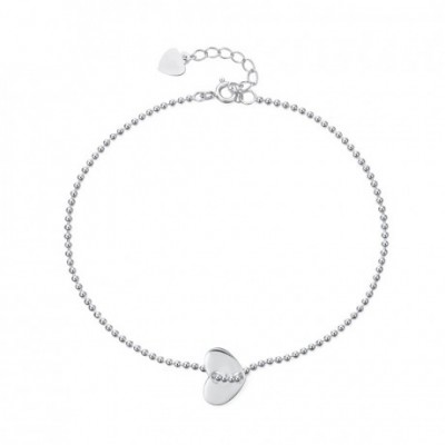 Classic Balls Chain Cross Heart Silver Adjustable Anklet