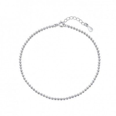 Shining Balls Chain Silver Anklet