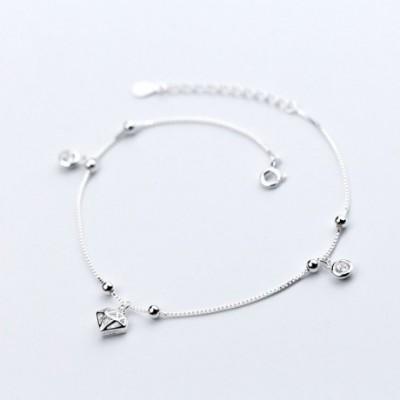 cultured diamond  Gemstone Balls Silver Anklet
