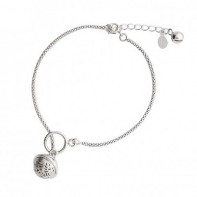 Carved Palace Bell Silver Anklet Casual