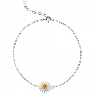 Small Daisy Flower Silver Anklet
