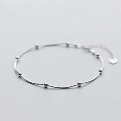 Light Beads Silver Anklet Casual