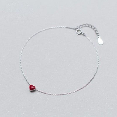 Red Heart Silver Anklet