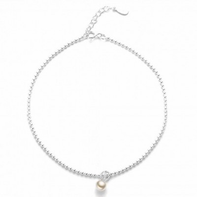 Light Beads  Pearl Silver Anklet
