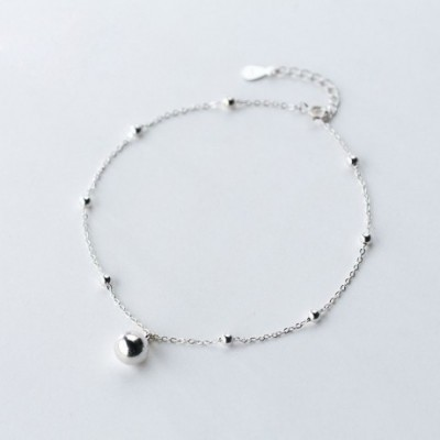 Large Small Light Beads Silver Anklet