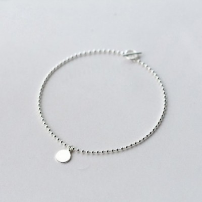 Shining Small Slice Silver Beads Anklet