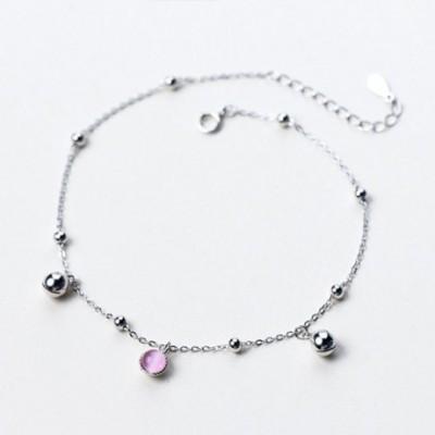 Pink Crystal Bell Silver Anklet