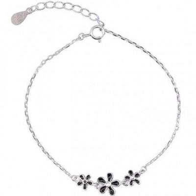 Three Black Flowers Silver Anklet