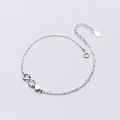 Honey Infinity Heart Silver Anklet