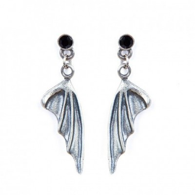 Demonic Wings Gothic Silver Dangle Earrings