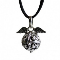Angel Wings and Bell - Black Pendant