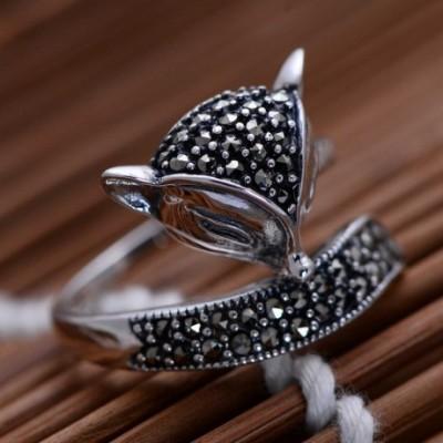 Fox Marcasite Silver Ring