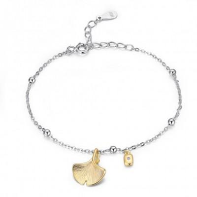 Apricot Ginkgo Leaf Silver Bracelet