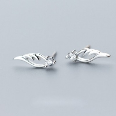 Angel Wings Silver Studs Earrings