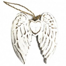 Hand Crafted Small Double Angel Wing and Heart - 15cm