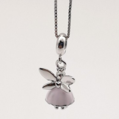 Delicate Fairy Wing Flying Silver Pendant