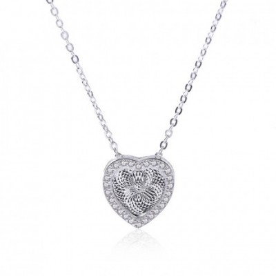 3D  Gemstone Heart Silver Necklace