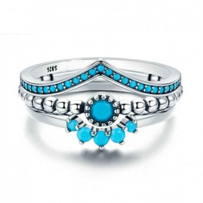 Blue  Gemstone Sun Flower Silver Ring