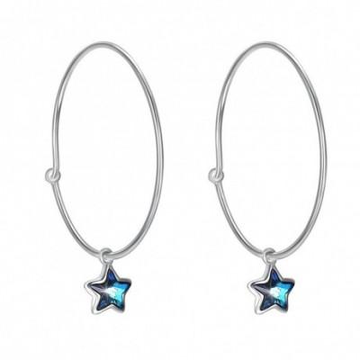 Aumtrian Crystal Star Silver Hoop Earrings