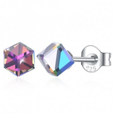 Aumtrian Crystal Square Cubes Silver Studs Earrings