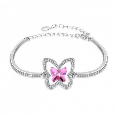 Aumtrian Crystal Butterfly  Gemstone Silver Bracelet