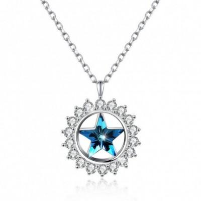 Aumtrian Crystal Star  Gemstone Sunflower Silver Necklace