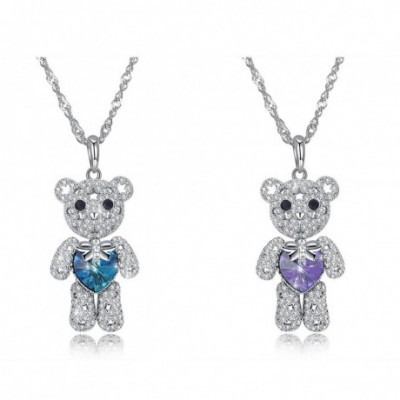 Aumtrian Crystal Bear  Gemstone Silver Necklace
