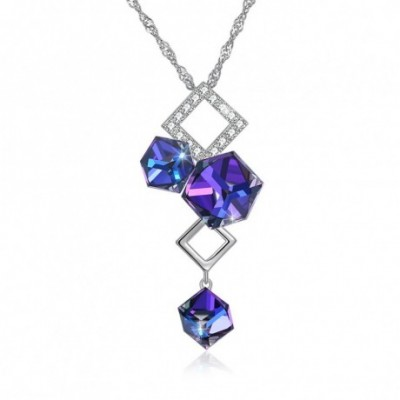 Aumtrian Crystal Geometry Cubes  Gemstone Silver Necklace