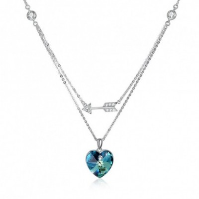 Aumtrian Crystal Heart  Gemstone Arrow Silver Necklace