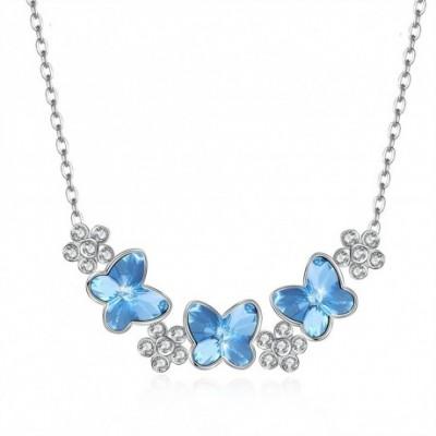 Aumtrian Crystal Butterfly  Gemstone Flower Silver Necklace