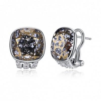 Aumtrian Crystal Geometry  Gemstone Silver Studs Earrings