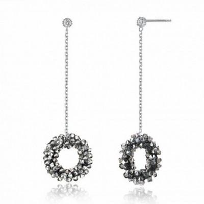 Aumtrian Crystal Ring  Gemstone Silver Dangling Earrings