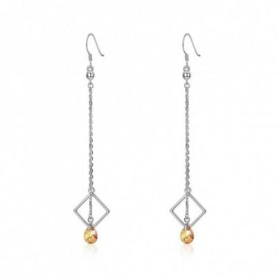 Aumtrian Crystal Geometry Square Silver Dangling Earrings