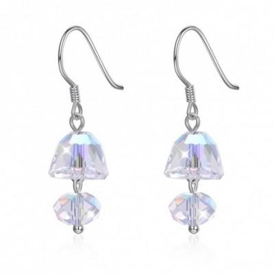 Aumtrian Crystal Mushroom Silver Dangling Earrings