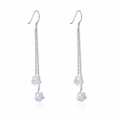 Aumtrian Crystal Flowers Silver Dangling Earrings